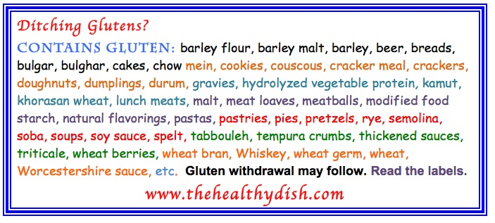 Contains Gluten List (Compiled and Photographed by Margarita Persico)