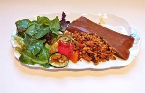 Salad, Arroz con Gandules and Pasteles (Photo: Margarita Persico)